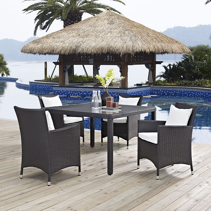 Trinidad Dining Collection   Trinidad is a versatile outdoor collection that adjusts according to the spontaneous needs of the moment. Leave a positive impression on friends and family while enhancing your patio, backyard or poolside.    Click to shop this collection.    Trinidad Lounge Collection also available.   Available with White or Beige Fabric.