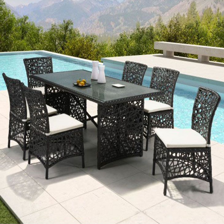 Mombasa Dining Collection   This beautiful outdoor dining collection will sit elegantly in your on your deck or pool area. Its subtle curves and organic open weave pattern make it an artistic addition to your outdoor space. Stunning.    Click to shop this collection.