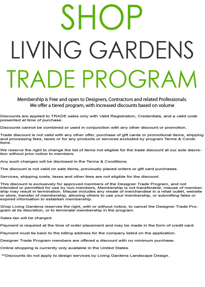 Shop Living Gardens Designer Trade Program Living Gardens