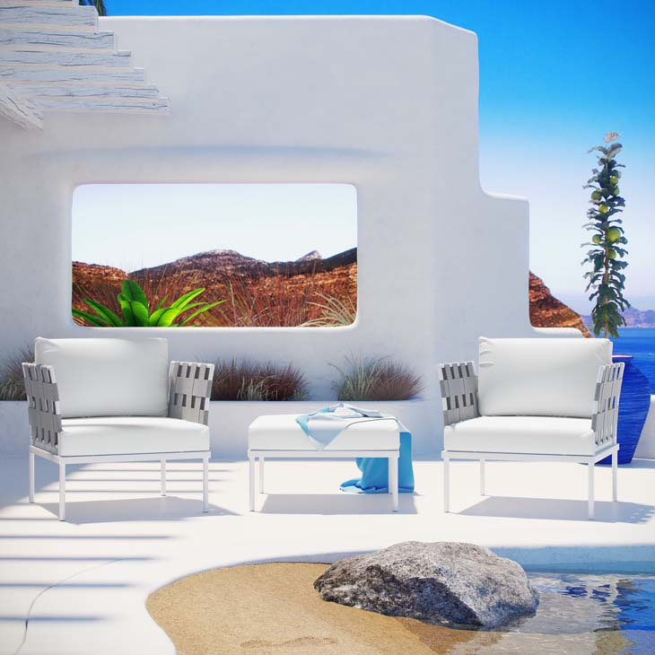 Antigua Lounge Collection in White   All-weather waterproof furniture.   Click to shop this collection.   Available with Navy, White, Gray or Beige fabric.
