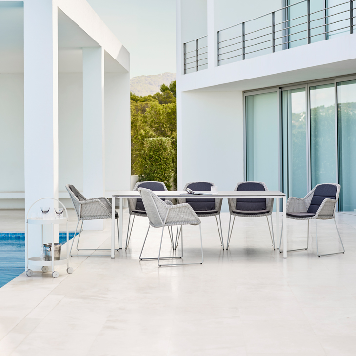 NEW Breeze Dining Collection in White   Designed by the dynamic Danish duo STRAND+HVASS. TheBreeze Collection combines beautiful and elegant lines with great comfort and requires a minimum of maintenance.   Click to shop this collection.    Lounge collection also available.