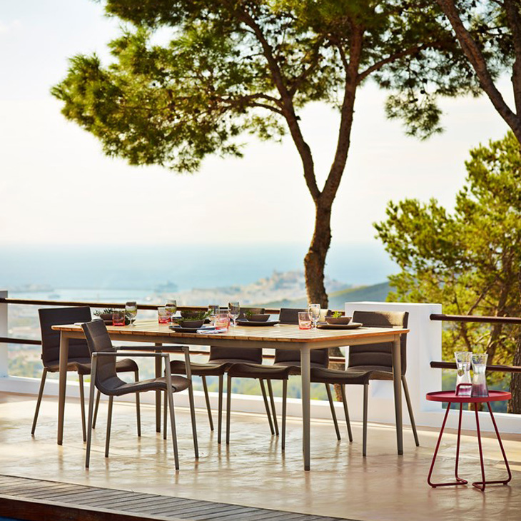 NEW Core Dining Collection   The Core combines the classic with the modern and lifts the use of teak in outdoor furniture to new levels. Core tables come in three different sizes and two frame colors enabling you to find the right table for your needs.   Click to shop this collection.