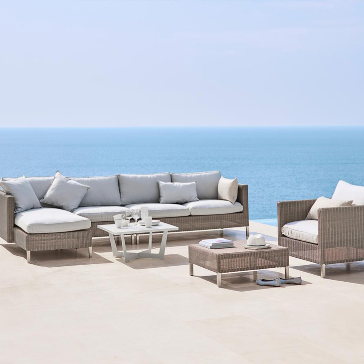 NEW Connect Lounge Collection   Connect is a timeless and classic collection in taupe weave. The sofa is designed by Cane-line Design Team and manufactured in Cane-line Weave® with Sunbrella Natté QuickDry cushions.   Click to shop this collection .
