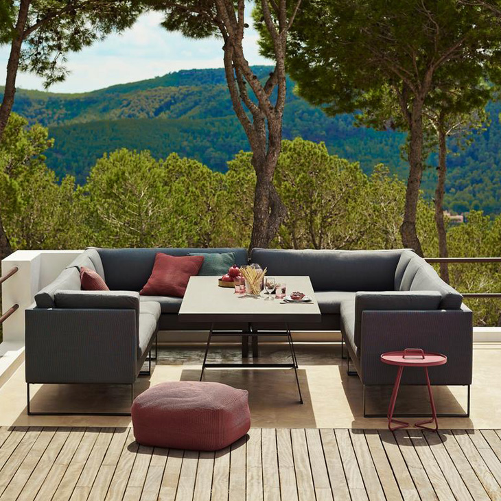 """NEW Flex Dining Collection   The Flex dining lounge sofa is the ideal sofa for outdoor use where the same space is used for both dining and lounging. With its unique design and function, you can change the way Flex is used in a matter of seconds – from dining to lounge or vice versa. Flex is the essence of """"life made comfortable"""".   Click to shop this collection"""