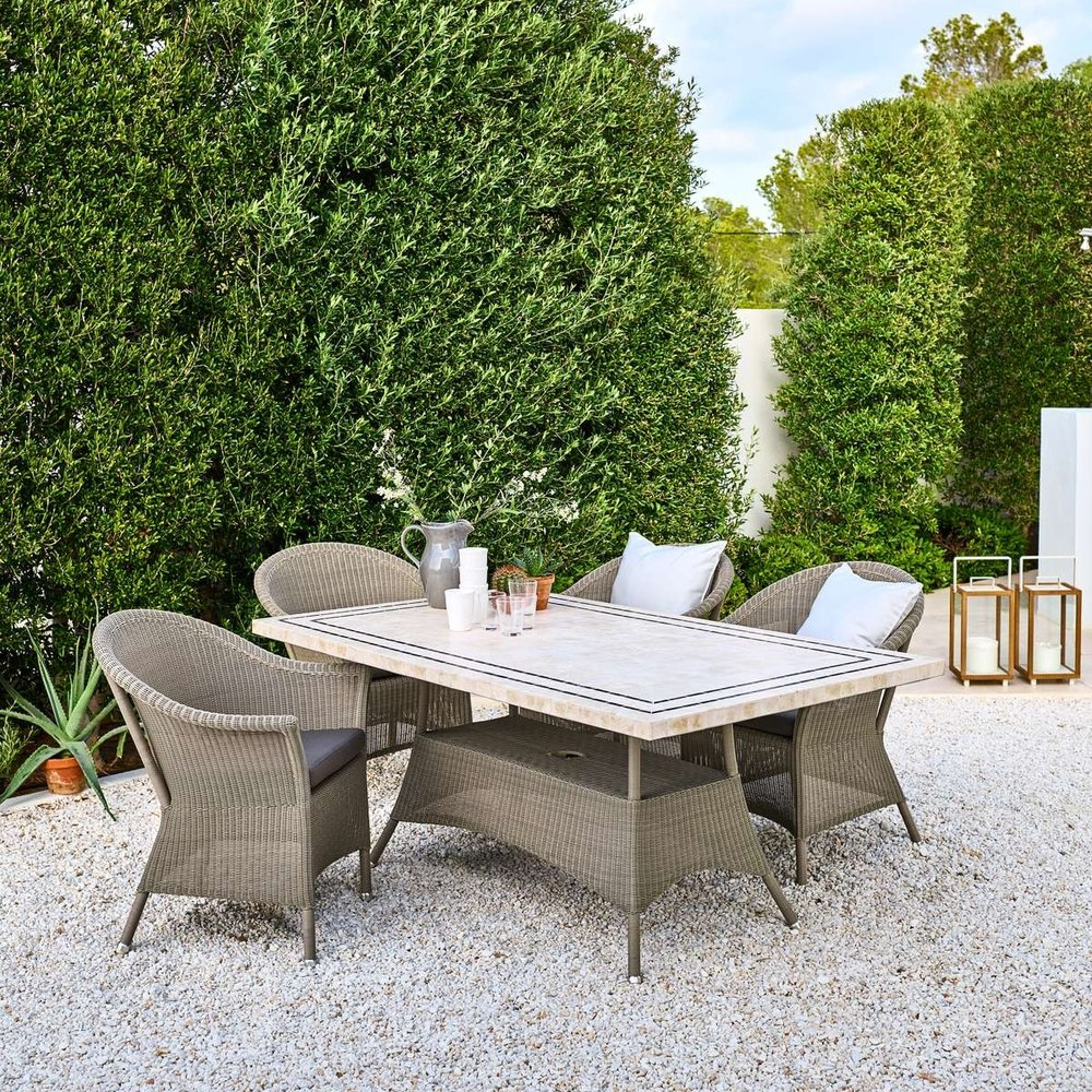 Lansing Taupe Dining Collection   The Lansing collection has a classic and romantic country look. Handwoven by skilled craftsmen and comes in a warm natural weave.   Click to shop this collection.