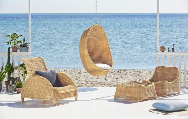 Antibes Hanging Egg Chair  The Antibes Hanging Egg Chair from the Antibes Collection is now available for exterior use. The Antibes Collection is made from Alu-Rattan which consists of a strong aluminum frame woven with Artfibre. The material is maintenance free and can withstand all weather conditions. This means that original rattan models previously only suitable for interior use, now can be used in the garden, on the terrace or the balcony.