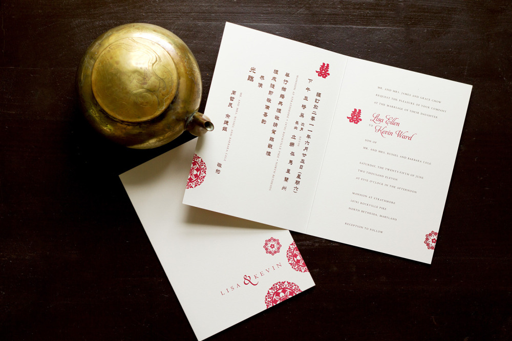 "Lisa and Kevin   Special Design Notes:   ""Double Happiness"" laser pocket in red (not shown)   Printing Method:   Offset / design can be letterpressed   Paper:  Strathmore Natural White"