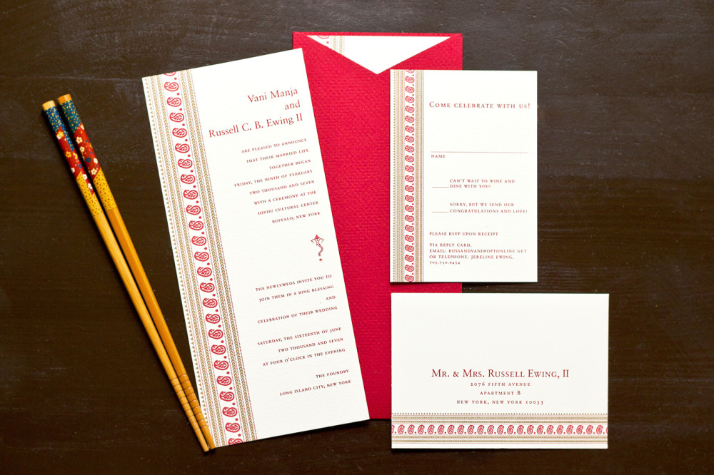 Vani and Russell    Special Design Notes:   Invitation printed on both sides in English and Hindi was inserted into a stock red textured sleeve   Printing Method:  Letterpress / design can be offset printed  Paper:  Hammermeulle (no longer available) *please inquire about new paper options  Special Awards:  2007 Pinnacle Award from the PINE Awards (Printing Industries of New England) for overall achievement in printing and design; 2008 Premier Print Awards