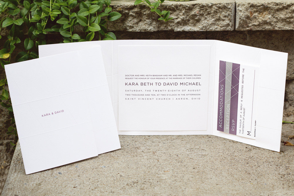 Kara and David   Special Design Notes:   Customized folder with blind embossed angular lines to mimic the glass-paned architecture of the Ohio Museum of Art   Printing Method:  Blind embossing and offset printing  Paper:  Strathmore, 110# coverstock in bright white