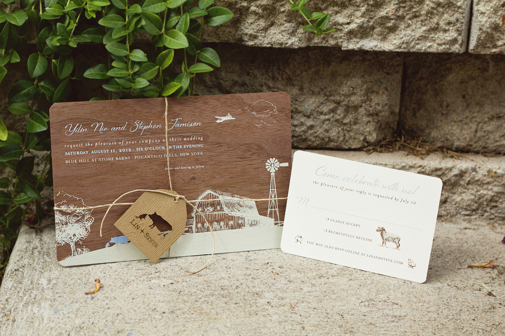 Lin and Steve   Special Design Notes:   Custom laser printed tag was tied around the invitation with twine   Printing Method:  Silkscreened wedding invitation on real wood; enclosures were offset printed  Paper:  Wood and Strathmore, 110# coverstock