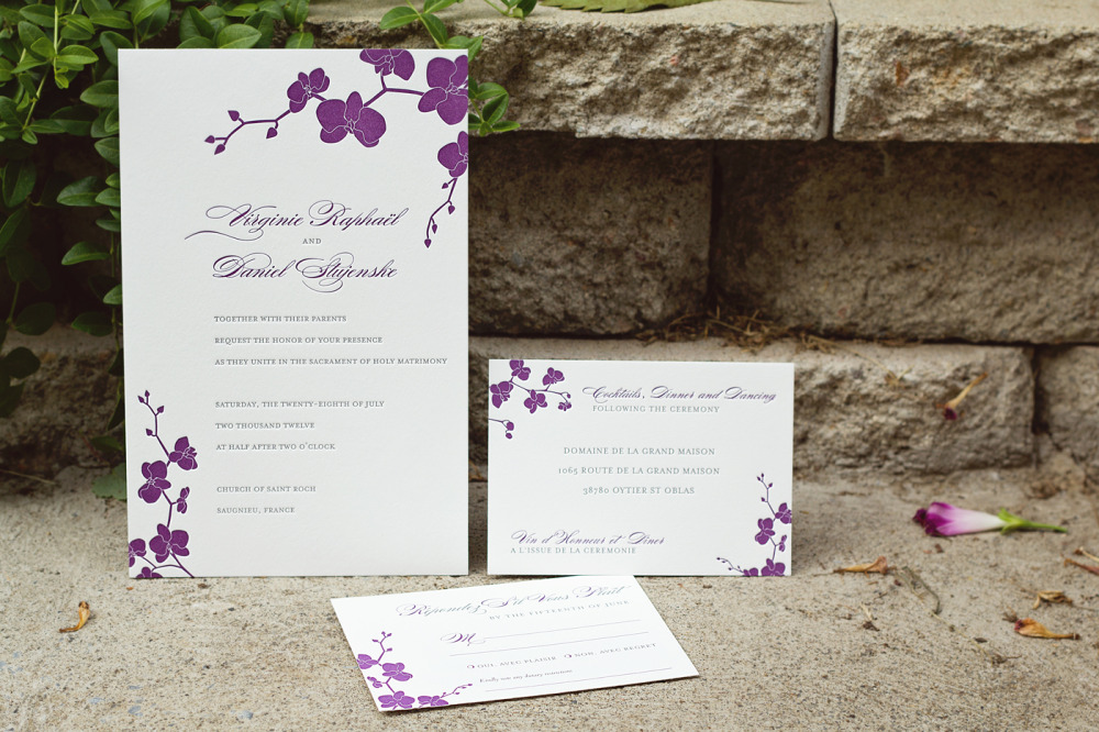 "Virginie and Daniel   Special Notes:  Invitation was printed in 2 colors front and back in English and French; a silver threaded 1"" bellyband wrapped around the invitation and its enclosures  Printing Method:  Letterpressed  Paper:  Cranes 220# coverstock  ""We were absolutely thrilled to have chosen Double Happiness Creations for all our weddding stationery. Yvonne is incredibly hard working, responsive, patient and creative and was with us every step of the way. Everything turned out exactly  like we wanted and was delivered ahead of schedule. She really doesn't count her time and made every single little edit that my husband and I had in the process. We are delighted to have met her, she is fun and sweet in addition to being talented!""  —Virginie and Daniel, New York City"