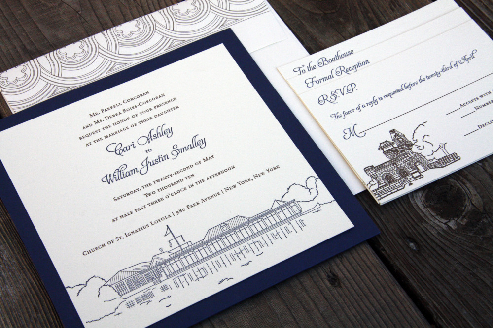 Cari and William    Special Design Notes:  Custom illustrations were created of The Boathouse, Bow Bridge, Bethesda Fountain and Belvedere Castle from New York's Central Park. Invitation was mounted onto a navy blue backing with a custom pocket on the back for the enclosures  Printing Method:  Letterpress   Paper:  Hammermeuille *paper is no longer available, please inquire about other options   As seen in:  Bella New York March/April 2012