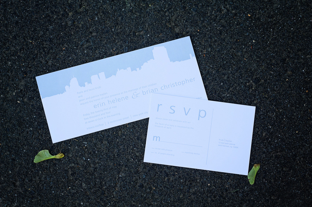 Erin and Brian   Special Design Notes:  Skyline of SoHo west of Tribeca from the venue of Tribeca Rooftop  Printing Method:  Letterpress (design can be offset)  Paper:  Cranes Coverstock  As seen in:  Brides New York Fall 2006 and Time Out New York, June 2011