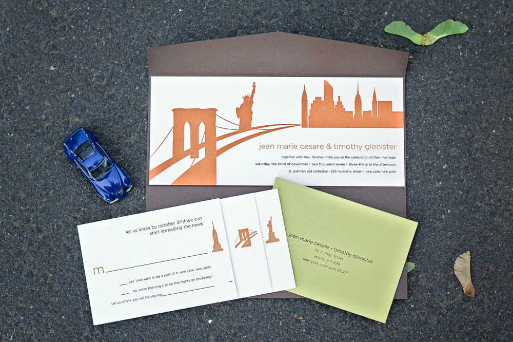 "Jeanne Marie and Tim   Special Design Notes:   Purposely  ""geographically-incorrect"" iconic New York City landmarks represented; invitation was adhered to pre-made pocket folder  Printing Method:  Letterpress  Paper:  Cranes cover  As seen in:  NewYorkMagazine.com, April 2008"