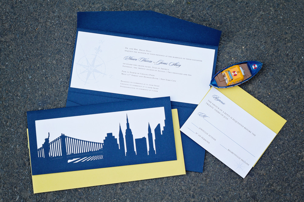 Maura and Jonas   Special Design Notes:  Wedding held on a dinner cruise around Manhattan. A custom made folder with New York City icons laser cut onto the back held the invitation and its enclosures. Bright yellow envelopes added a splash of color!  Printing Method:  Offset  Paper:  Strathmore coverstock