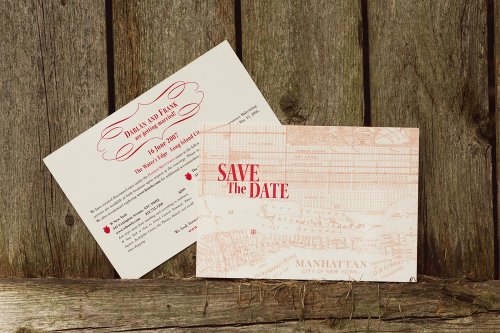 Darlan and Frank   Special Design Notes /Theme:  Save the date featuring vintage NYC map of midtown and Queens  Printing Method:  Offset  Paper:  Strathmore Natural White