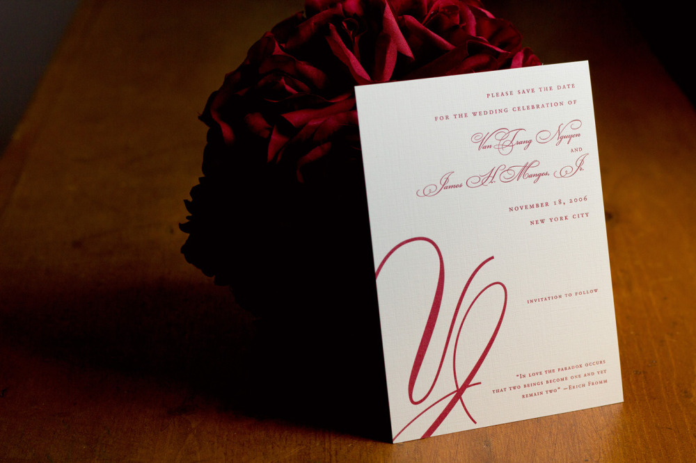 VanTrang and Jamie   Special Design Notes/Theme:  Custom monogram  Printing Method:  Letterpress  Paper:  Neenah Classic Laid
