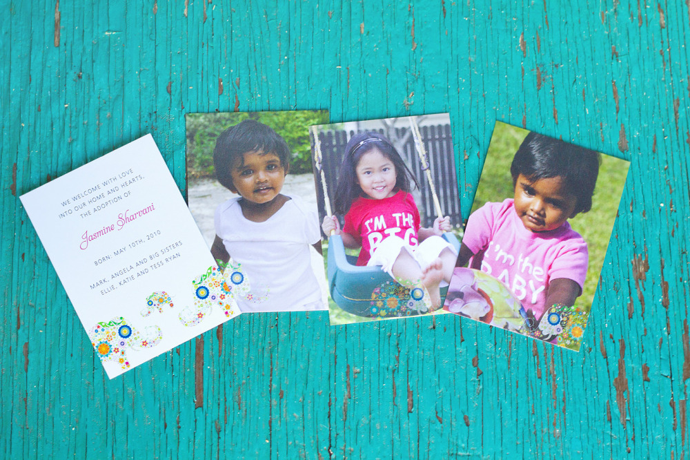 "Jasmine   Special Design Notes /Theme:  Our client Angela first came to us when she welcomed her first daughter adopted from Singapore (see Teresa in this portfolio). When she adopted her second child Jasmine, she called upon us again and we created a 4 panel announcement incorporating Jasmine's Indian heritage and a photo of ""big sister"" Teresa. All the cards were enclosed in a glassine envelope to create a special packet when friends and family received them.   Printing Method:  Digital press  Paper:  100# coverstock"