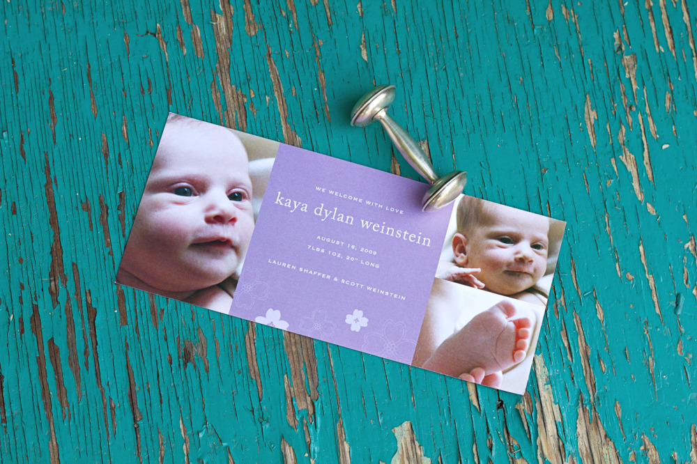 Kaya   Special Design Notes /Theme:  Design incorporates up to 4 photos of your baby; announcement measures 4 x 9  Printing Method:  Digital press  Paper:  100# coverstock