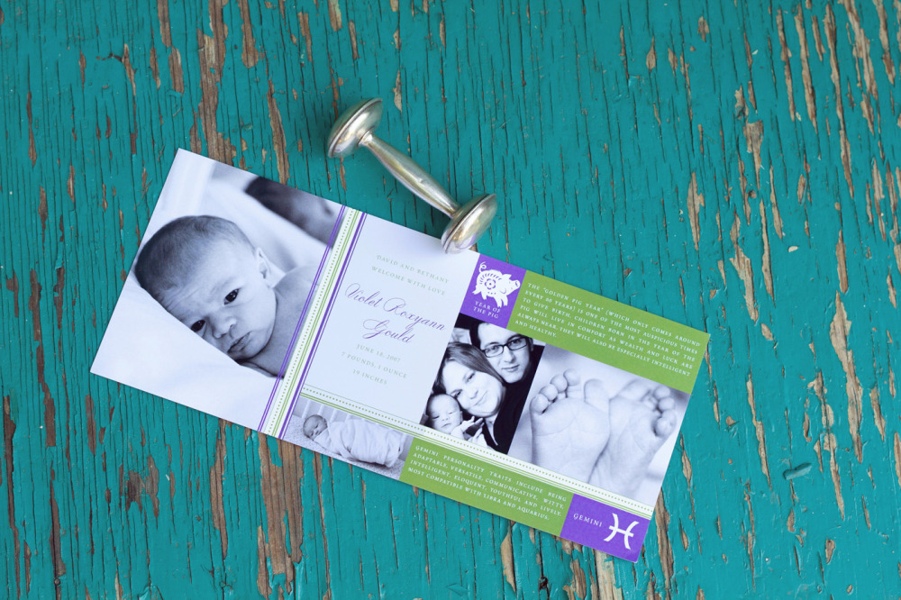 "Violet   Special Design Notes /Theme:  Eastern and Western astrology theme incorporates up to 4 photos of your baby; announcement measures 4 x 9  Printing Method:  Digital press  Paper:  100# coverstock  ""We both work with designers professionally and you were the easiest we've ever had the pleasure of collaborating with. You listened to and took our creative direction to create exceptionally beautiful birth announcements for our baby girl. We are thrilled with the end product, the level of service you provided and the overall experience of working with you. Expect some repeat business once this one is out of diapers!""— Dave, Bethany, and Violet, Houston, TX"