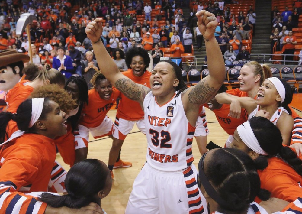 UTEP guard Chrishauna Parker pumps up her team at the Don Haskins Center in El Paso Texas on Jan. 30, 2016.