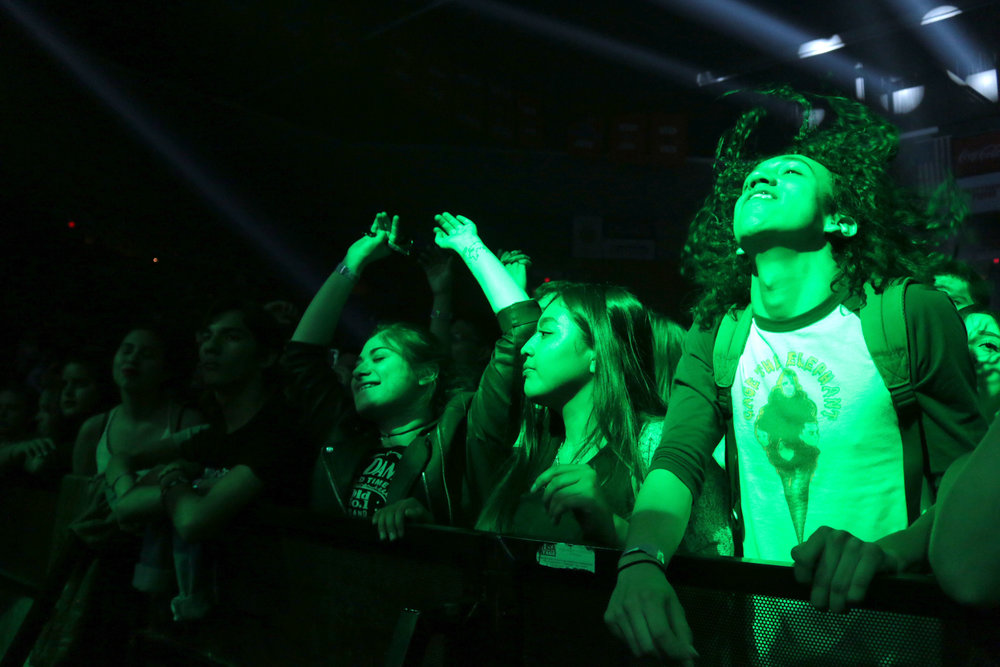 Fans listen to alternative rock band Foals at the Don Haskins Center in El Paso, Texas on March 17, 2016.