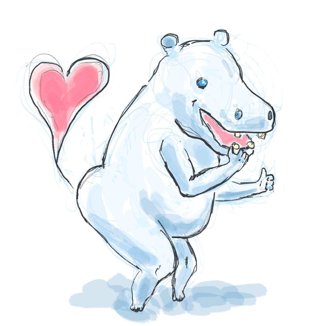 Heart Fartin' Hippo.   Happy Valentines Day!