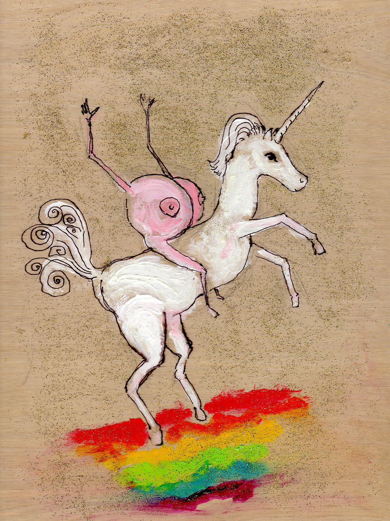 "6/6/13 -  Boobies on a Unicorn.    Er, yeah. This one came about because of text messages with a friend of mine. Blame her. And yes, I realize boobs don't really look like that. Neither do unicorns.  9"" x 12"" Acrylic paint, sharpie, pencil, glitter, polyurethane on wood panel.   Available to purchase here:  http://taylorwinder.bigcartel.com    Prints of this one are unavailable."