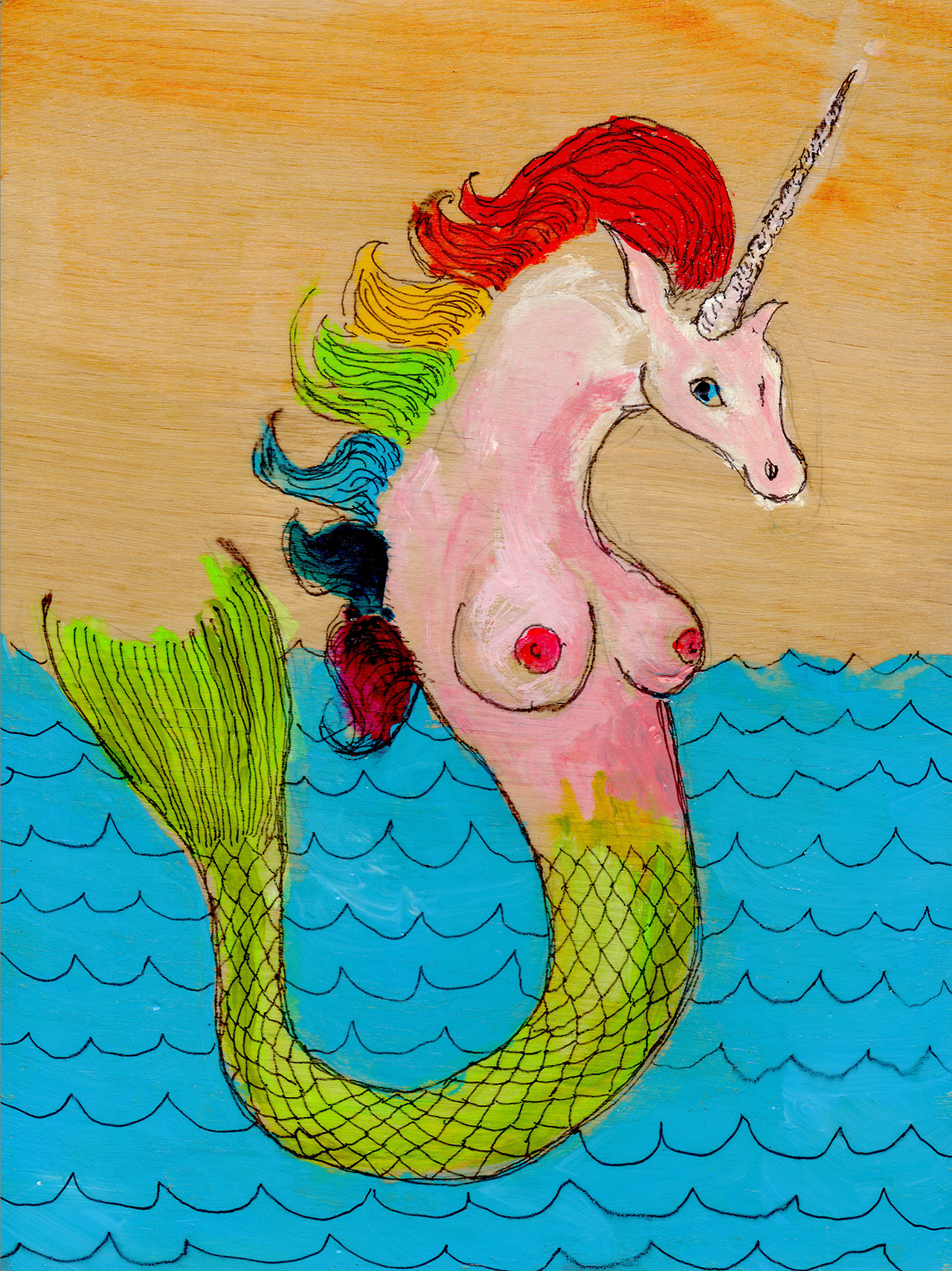 "6/10/13 -  A Rainbow-Haired Mermicorn.    It's a Monday mashup! Um. Yup.   9"" x 12"" Acrylic paint, sharpie, pencil, polyurethane on birch panel.   Available to purchase here:  http://taylorwinder.bigcartel.com    Prints available here:  http://society6.com/taylorwinder"