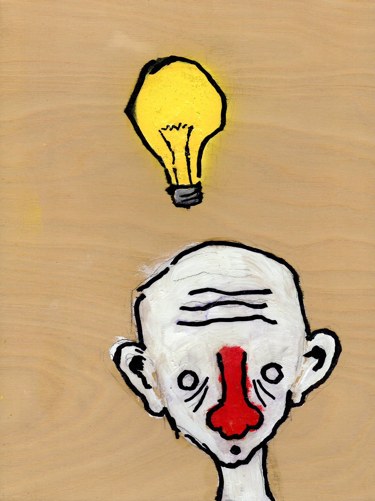 "6/11/13 - The Danger Bulb. Ideas can hurt. 9"" x 12"" Acrylic paint, sharpie, pencil, polyurethane on birch panel. Available to purchase here: http://taylorwinder.bigcartel.com Prints available here: http://society6.com/taylorwinder"