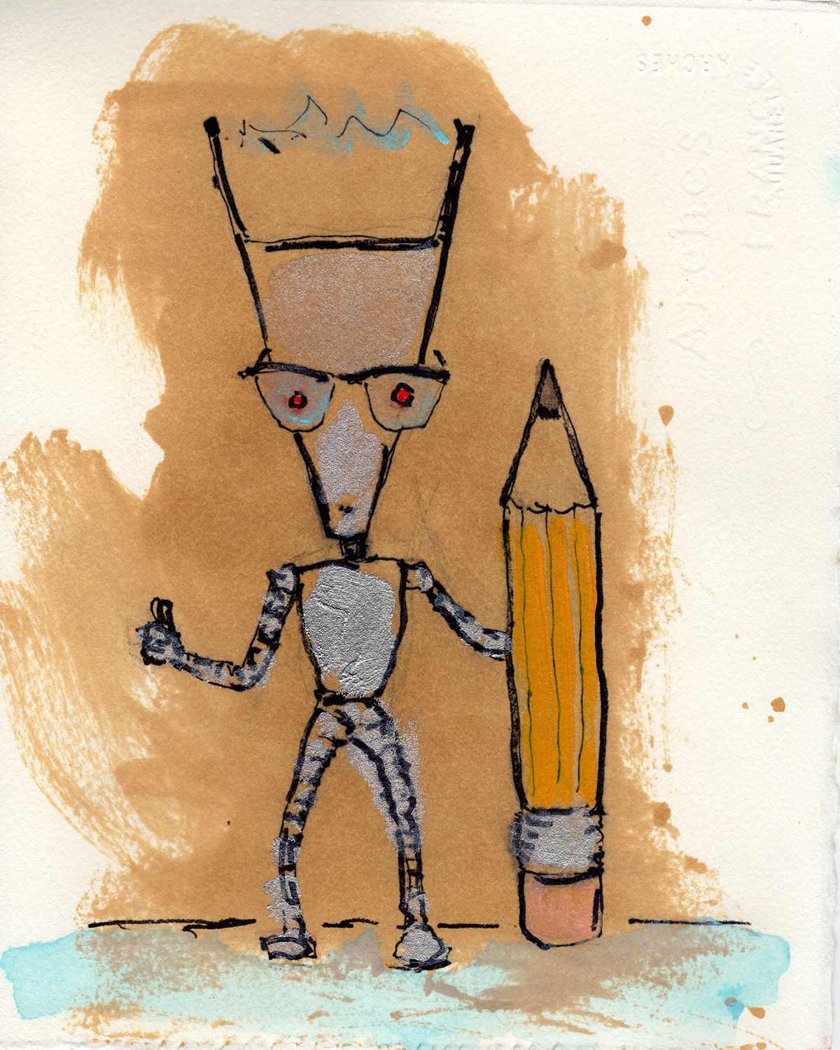 "2/13/13 Too hip for hipsters. Lil' Dorkbot and the Novelty Pencil 8"" x 10"" acrylic, shellac, marker, pencil, clear spray paint on watercolor paper."