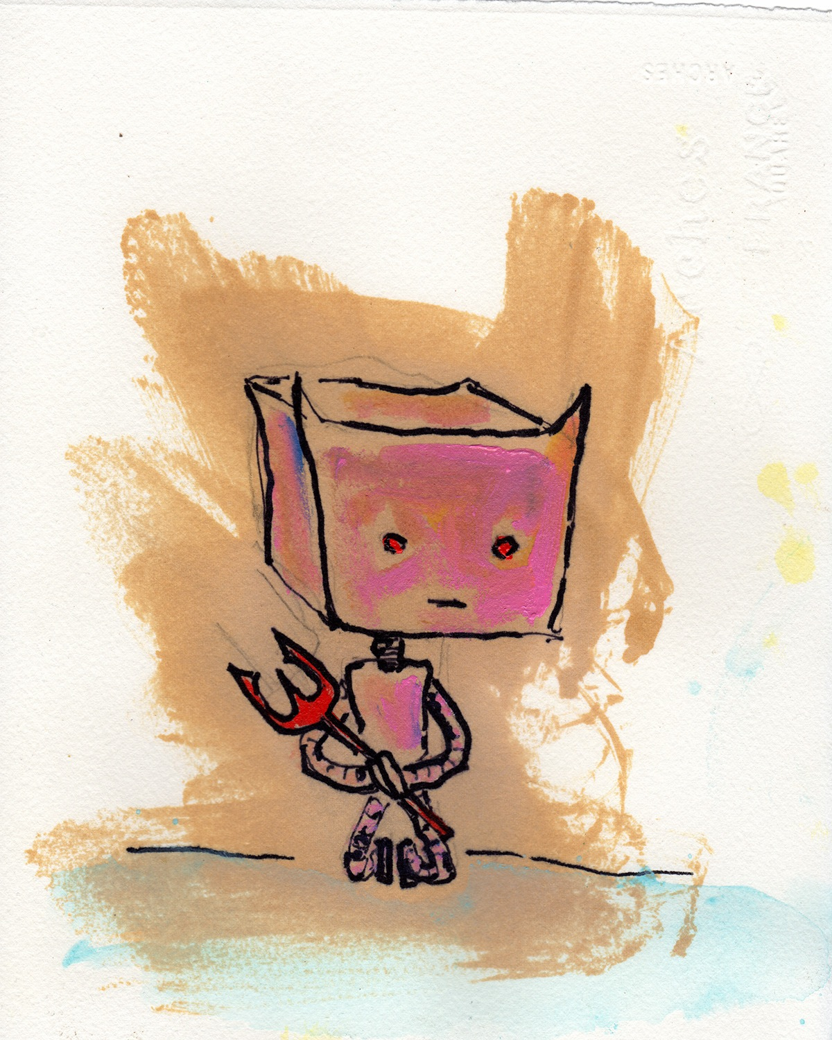 "2/14/13. Yeah. Today is evil. Larcenous Lil' Devilbot. 8"" x 10"". Acrylic, shellac, marker, pencil on clear watercolor paper."