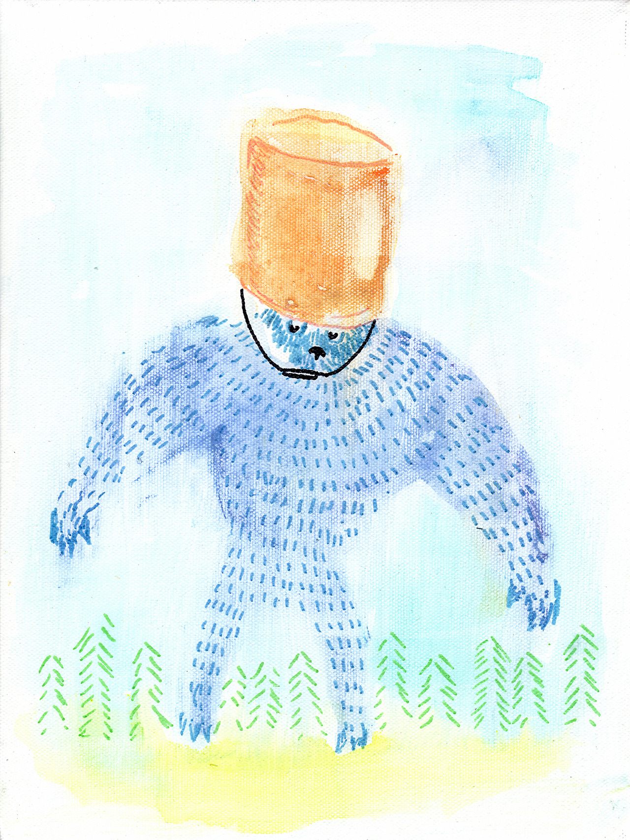 7/6/13 -  The Bucket Bear.    There was a dog at a dog park I used to frequent that would play with a five gallon bucket for hours on end. It was a strange mutt. This is not a picture of that dog.   Buy it here -  http://tayloriwnder.bigcartel.com    Prints here -  http://society6.com/taylorwinder