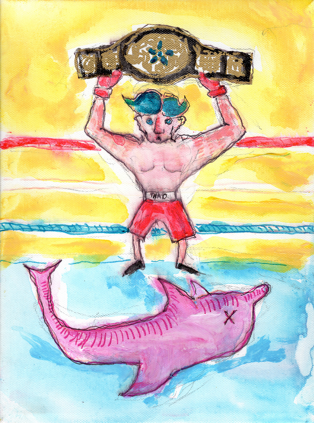 7/20/13 -  Thad Defeats the Porpoise.    Yeah, it's punny.   Buy it here -  http://taylorwinder.bigcartel.com    Prints here -  http://society6.com/taylorwinder