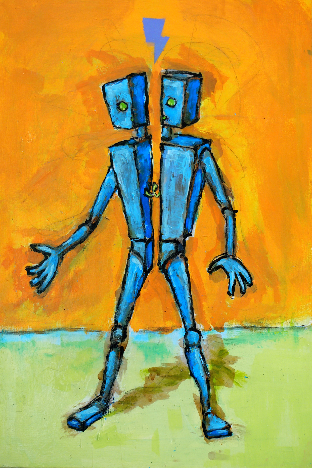 "Another piece I will have at this show: https://www.facebook.com/events/464355500272560/    Blue Boxtop is Broken in Half   24"" x 36"". Mixed media on canvas."