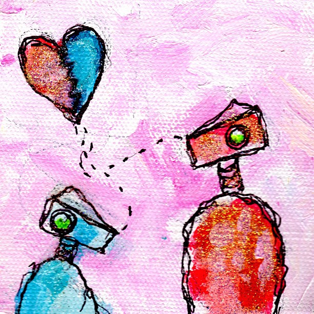 One more #art #artdaily #30in30 #hearts #brokenheart #painting #illustration #birds #glitter