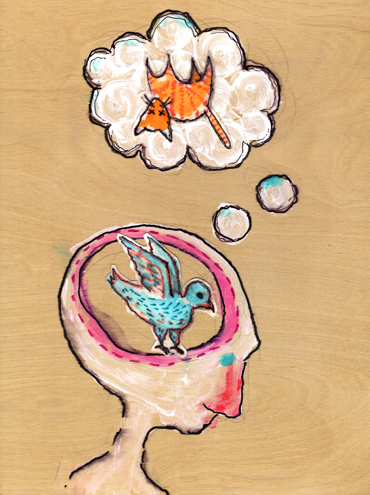 8/1/13 - The Bird Brain. Thinking happy thoughts. Buy it here - http://taylorwinder.bigcartel.com Prints here - http://society6.com/taylorwinder