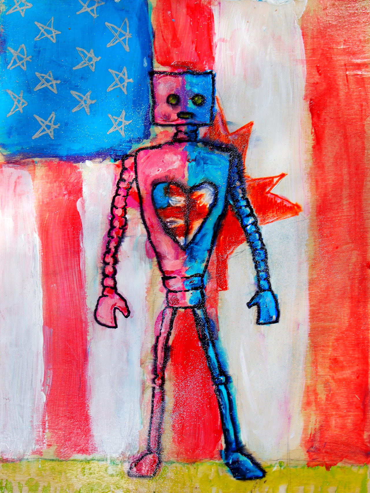 8/10/13 -  The Formation of the International Super Love Bot.    My good friends Lisa and Kent are getting married today. He's canuckian. She's 'merican. I really hope they like this. I also hope they're too busy with pre-wedding stuff to check the internet.
