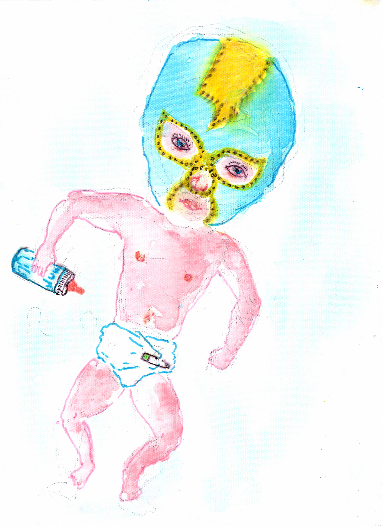 9/6/13 -  Luchadorito .   This might be the most disturbing thing I have ever made. Also, I don't speak any Spanish (obviously).   Buy it here -  http://taylorwinder.bigcartel.com    Prints here -  http://society6.com/taylorwinder