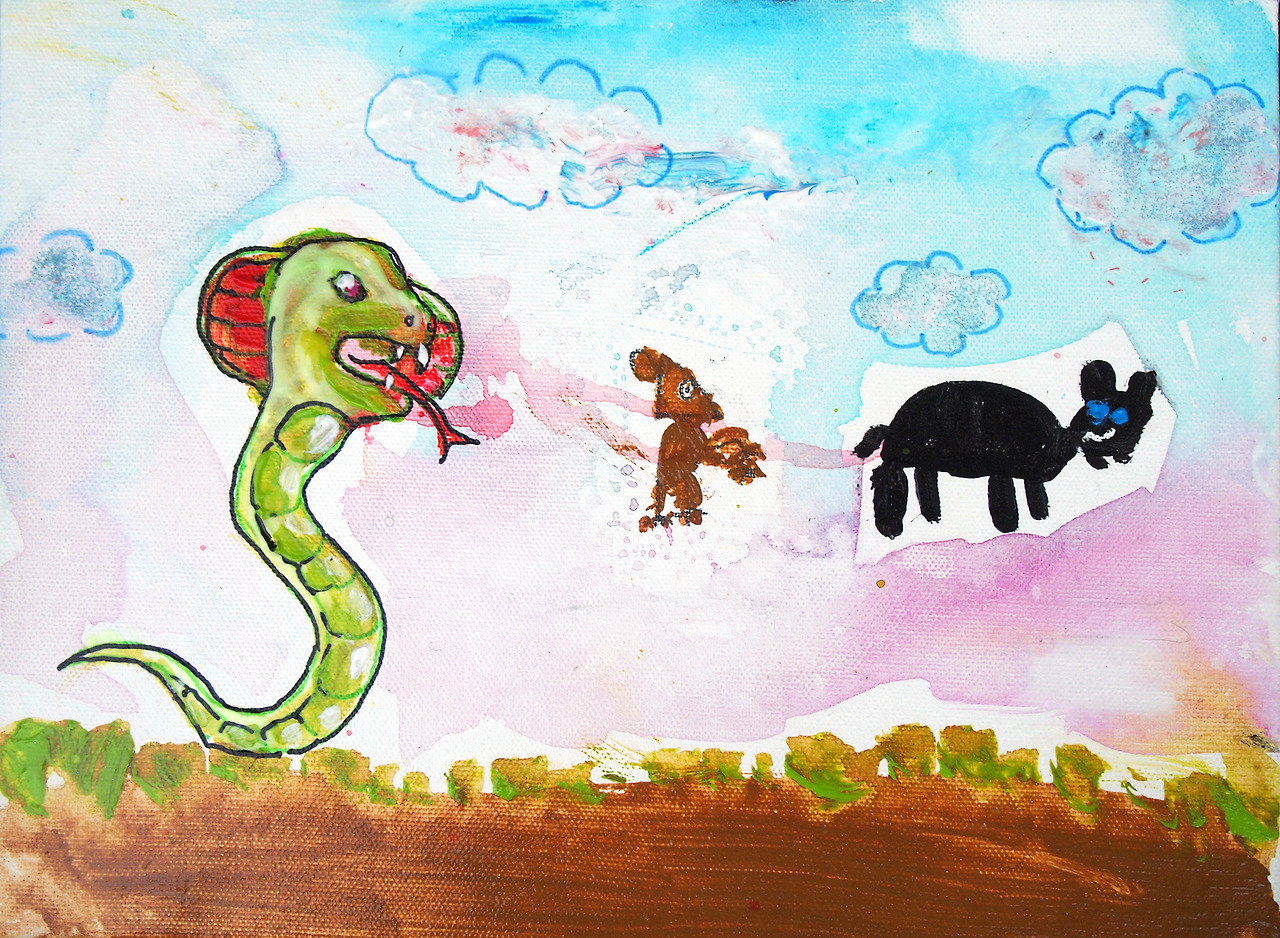 8/12/13 -  Snakey, Naked Momo, and Nacho Go For A Walk .   Today my 8 year old nephew Levi and I painted a picture for our other nephew Noah. He likes snakes, mice, and dogs. And red is his favorite color because it reminds him of pink.
