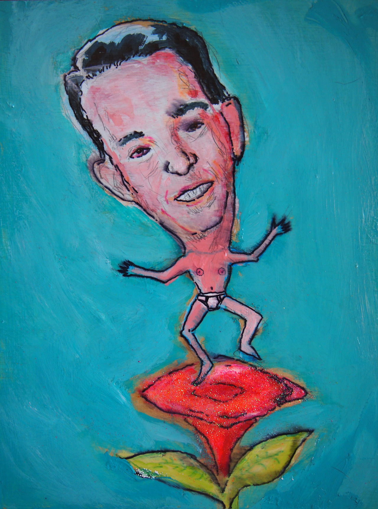 8/16/13 -  Walker All Over You .   I don't think I got his beady little eyes quite right, but here, Wisconsin. Have a pic of Scott Walker dancing on a, um, flower.   Also, if you're in Madison come to Macha Teahouse tonight between 6-9. Almost all of my daily art pieces will be up there. Oh, and I'll be there, too.