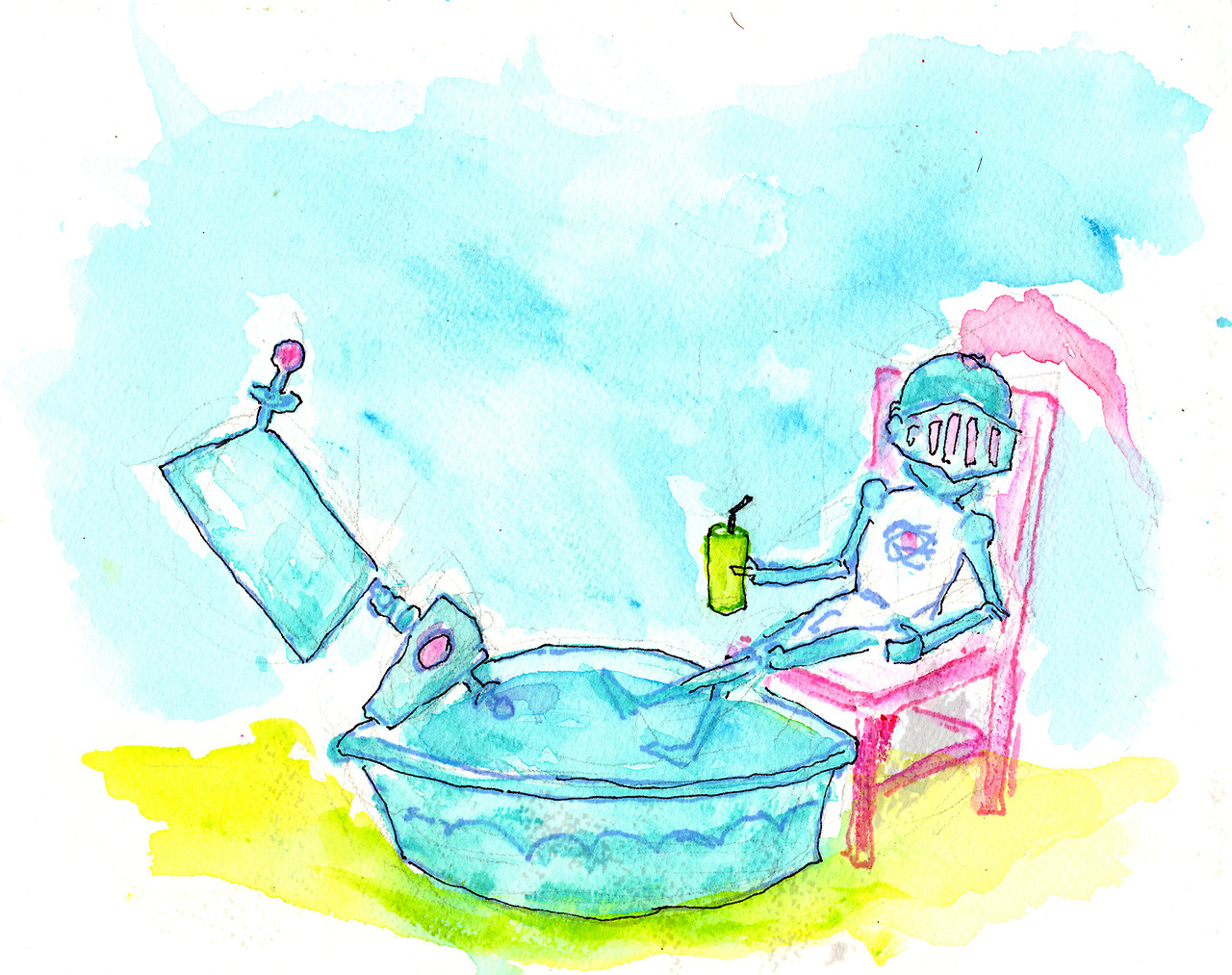 9/11/13 - Neutron and Atom Knight Stay Cool. It's going to be a warm one today. Someone buy me a kiddie pool. Or an air conditioner. Or a cold beverage.  Buy it here - http://taylorwinder.bigcartel.com Prints here - http://society6.com/taylorwinder