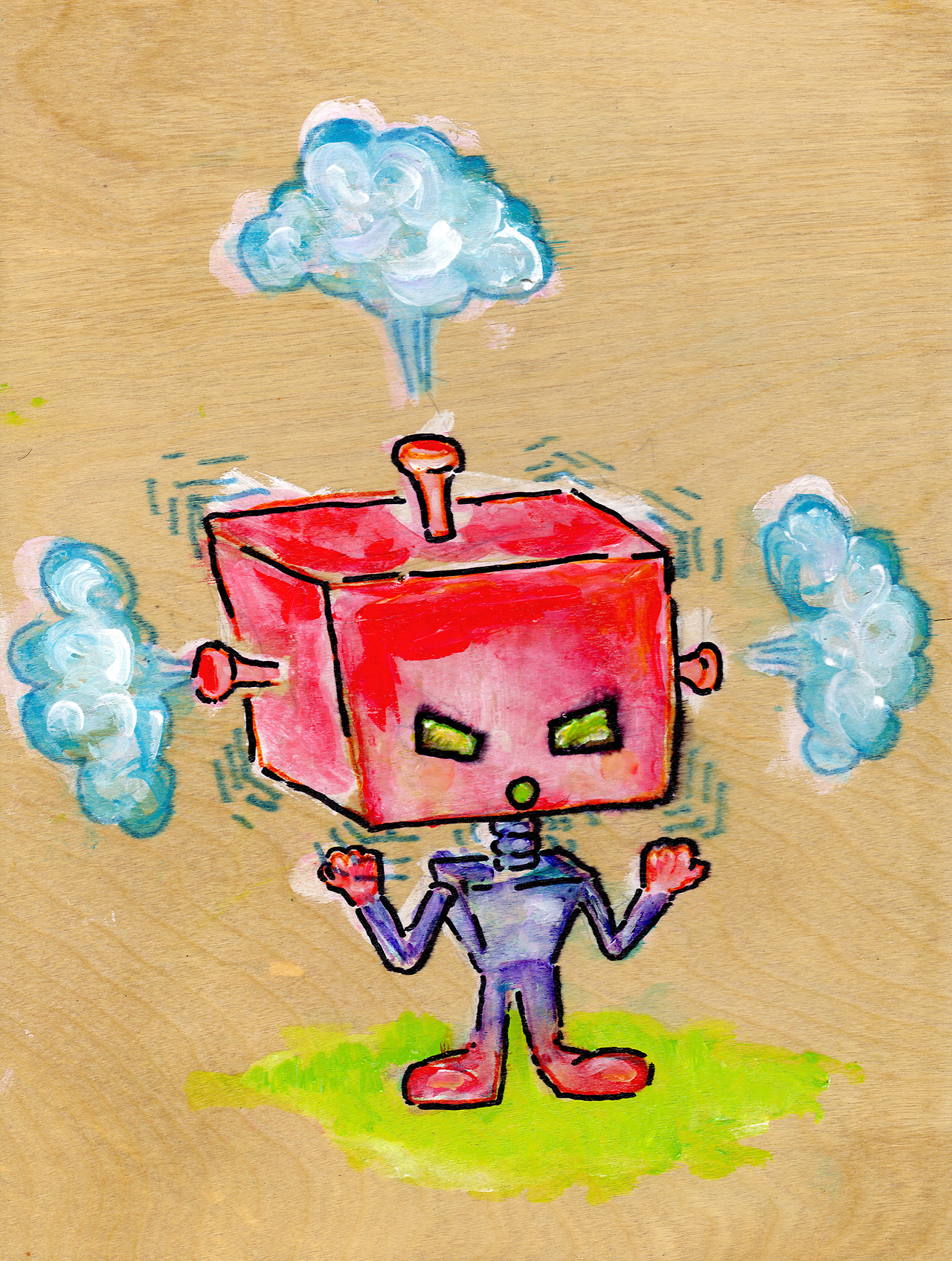 9/17/13 -  Redheaded Ragebot.    Me before caffeine this morning. Actually, me after caffeine this morning. Today's annoying and very expensive.   Buy it here -  http://taylorwinder.bigcartel.com    Prints of it here -  http://society6.com/taylorwinder