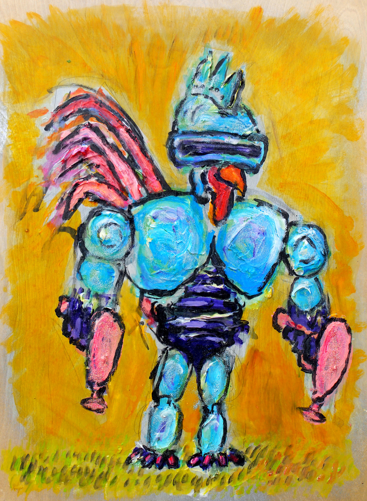 "Robocock.    18"" x 24"" - acrylic paint, pencil, glitter, polyurethane on birch panel.   I will be showing this piece for the first time at:    https://www.facebook.com/events/610822628960324/     The opening is tomorrow evening. I hope you all can make it."