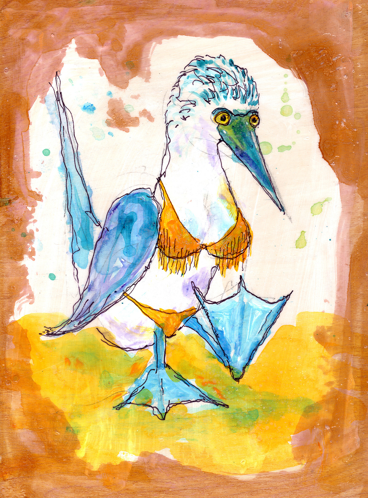 10/22/13 -  Bikini Baring Blue Footed Booby.    It's booby Tuesday.    Buy it here -  http://taylorwinder.bigcartel.com    Prints here -  http://society6.com/taylorwinder