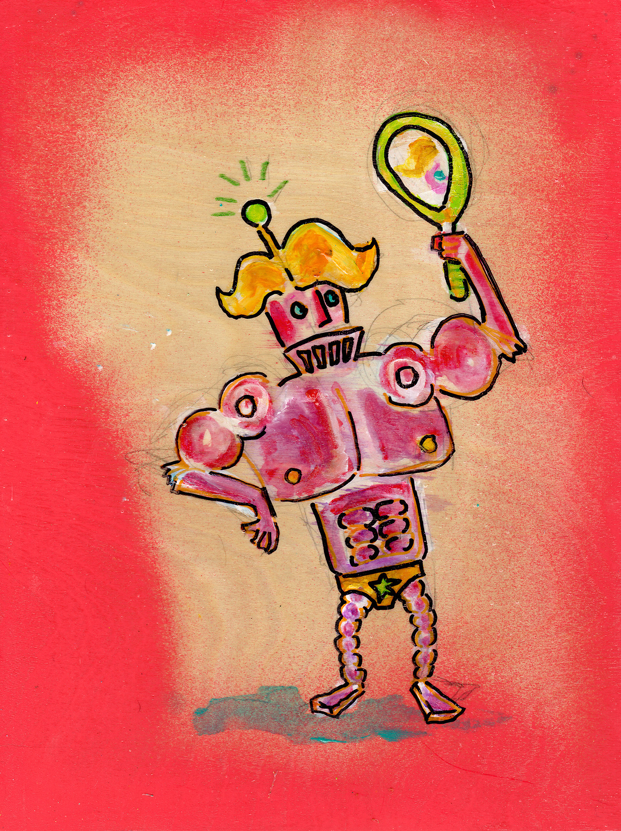 10/5/13 - Deadly Sinbots 3: Vanitron. Yup. A robot with a 6 pack. And not a pbr-type sixpack. Happy Saturday. Buy it here: http://taylorwinder.bigcartel.com Prints of it here: http://society6.com/taylorwinder