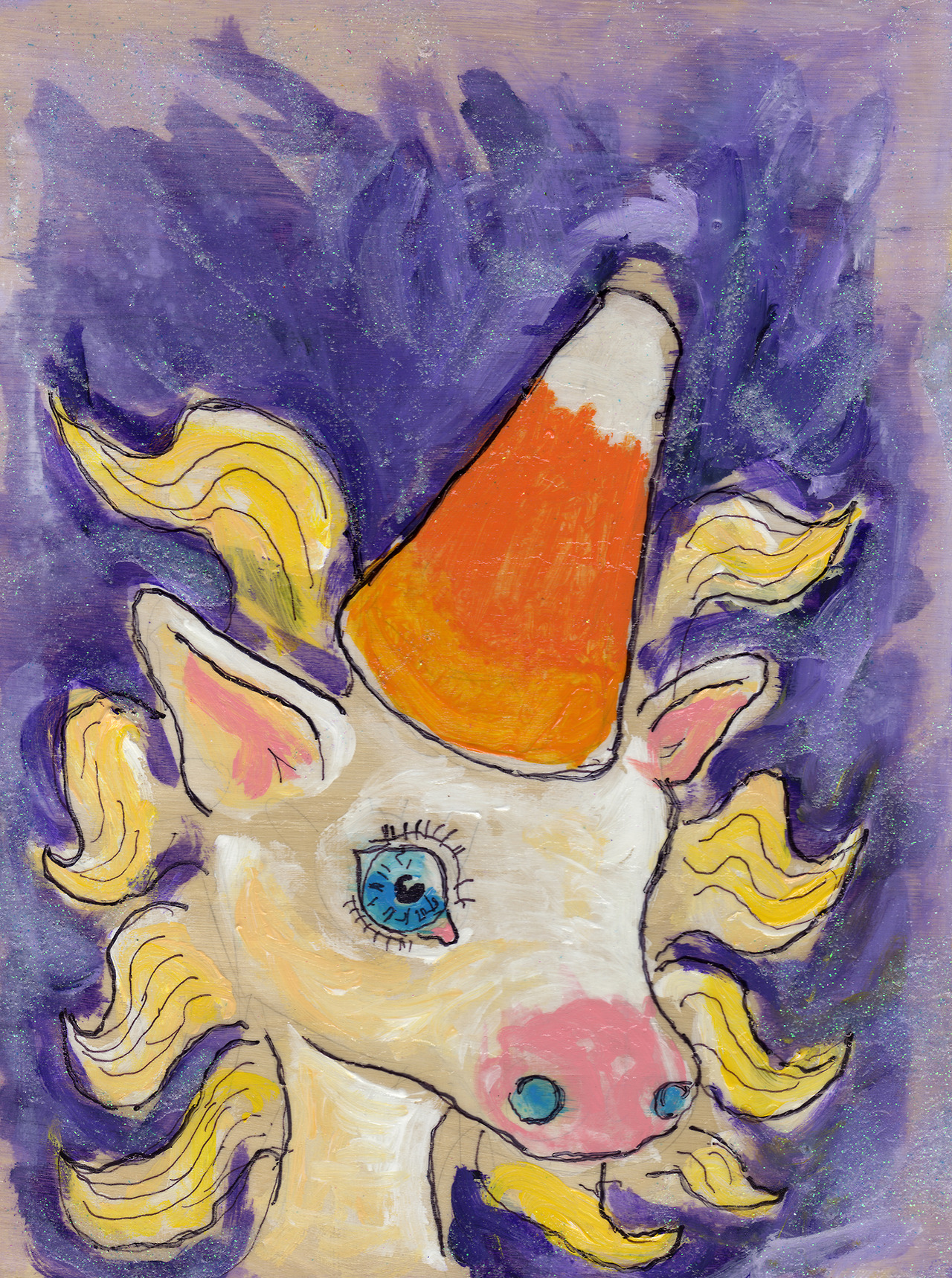 10/23/13 -  Candycorn.    I channeled my inner Lisa Frank today. This piece is glittery. And shiny.   Oh, and candy corn is gross.   Buy it here -  http://taylorwinder.bigcartel.com    Prints of it here -  http://society6.com/taylorwinder