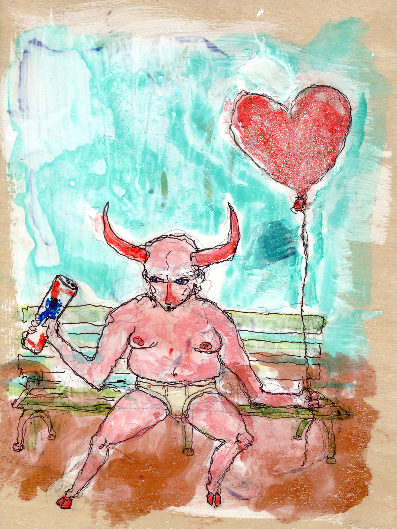 11/2/13 - The Devil You Know. Yeah, underwear. Hearts. PBR. this one has it all.  I have a kickstarter going at the moment. Please help out with it if you are able: http://www.kickstarter.com/projects/taylorwinder/the-art-book-of-the-year This piece is for sale at - http://taylorwinder.bigcartel.com Prints are available at - http://society6.com/taylorwinder
