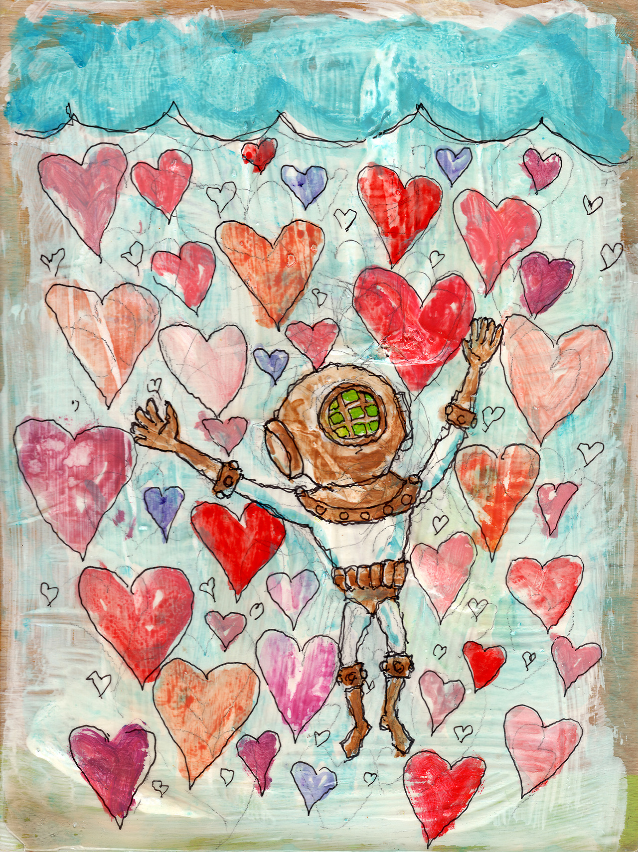 11/4/13 -  Drowning in Love.    The extremely positive response to my kickstarter has made me feel a little like this.   Speaking of which -  http://www.kickstarter.com/projects/taylorwinder/the-art-book-of-the-year   This piece is for sale at -  http://taylorwinder.bigcartel.com    Prints at -  http://society6.com/taylorwinder