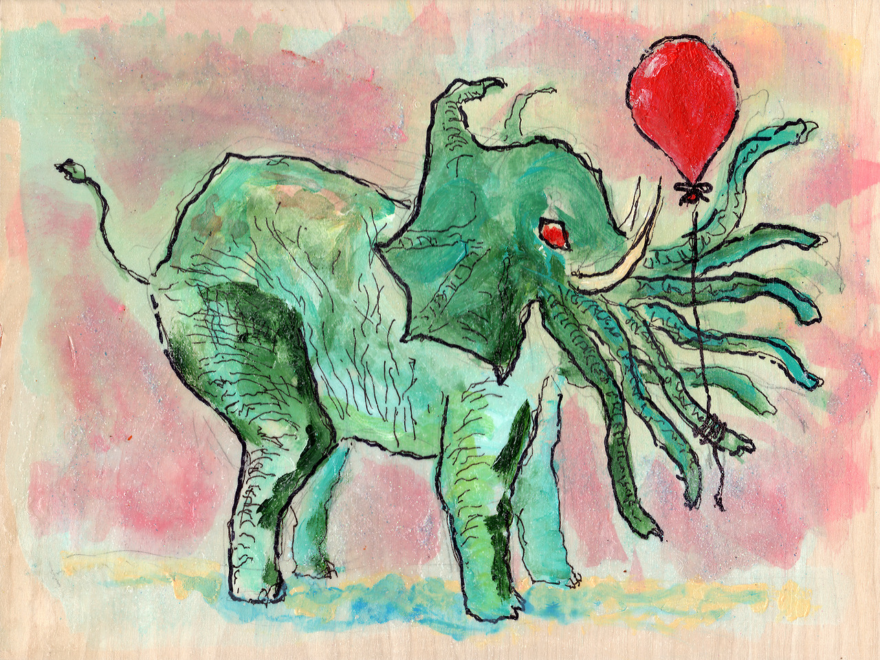 11/11/13 -  Cthulhephant with Red Balloon.    Balloons make everything a bit less scary. Except for clowns. Clowns are creepy regardless.   Anyway, my kickstarter is still going on. I'd love it if you could take a look at it when you get the chance. My mom's in the video. So there's that.   http://www.kickstarter.com/projects/taylorwinder/the-art-book-of-the-year